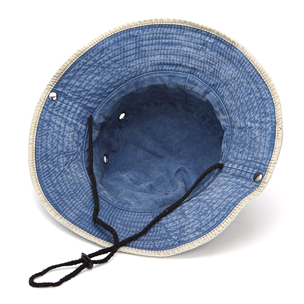 Men Denim Stripe Bucket Sun Hats Wide Brim Sunscreen Hunting Fishing Outdoor Military Caps
