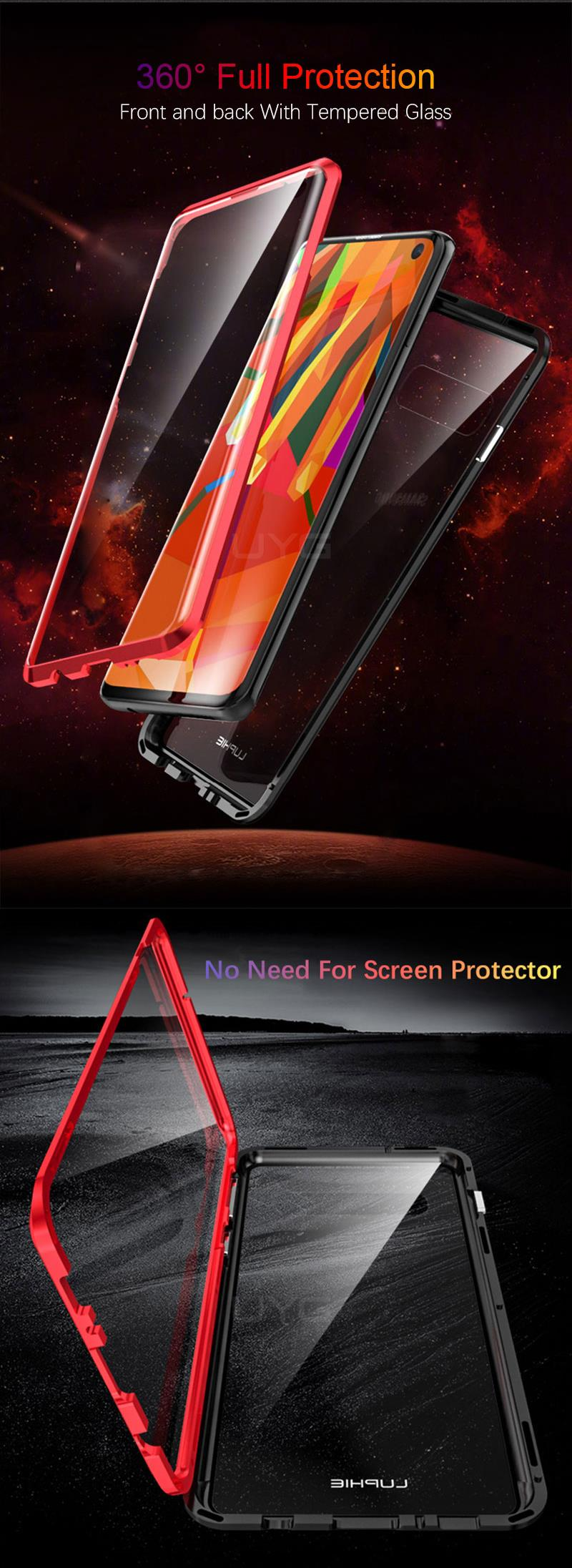 Luphie 360º Full Body Double Sided Glass Magnetic Adsorption Protective Case For Samsung Galaxy S10/S10 Plus