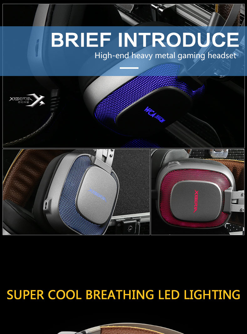 Xiberia K10 USB Wired HiFi Noise Canceling Backlit Gaming Headphones Headset with Microphone