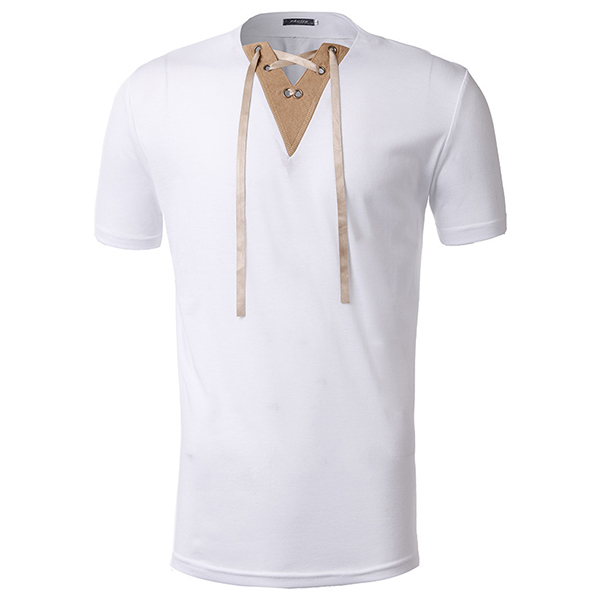 Men's Fashion Suede Neckline Stitching Rope Design Casual Solid Color Short Sleeve T-shirt
