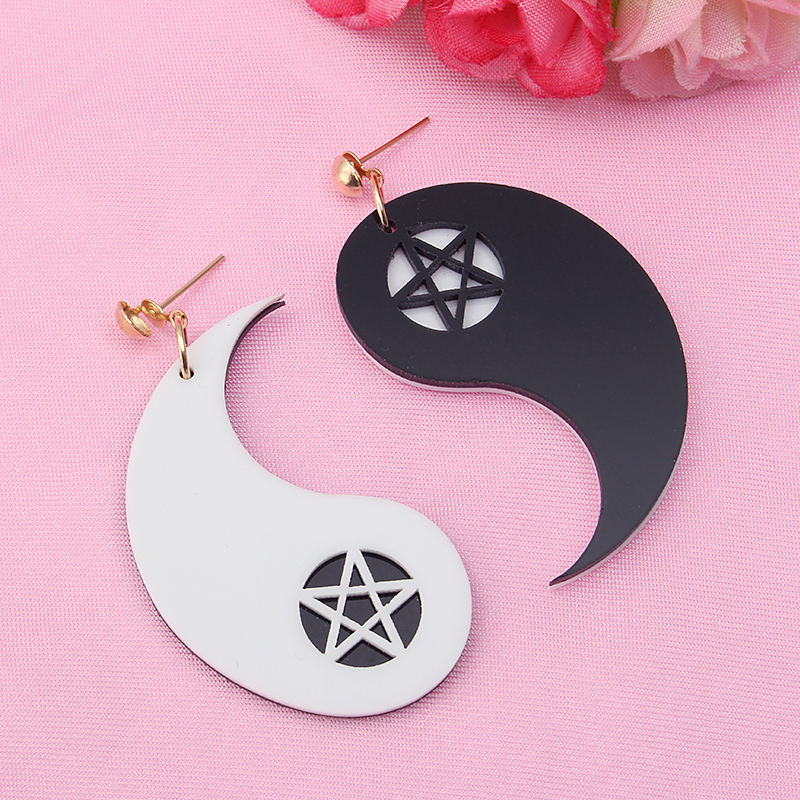 Exaggerated Acrylic Asymmetric Tai Ji Star Earrings