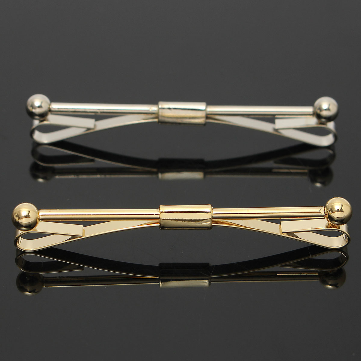 Men Silver Gold Necktie Tie Clip Bar Clasp Cravat Pin Skinny Collar Brooch Without Chain