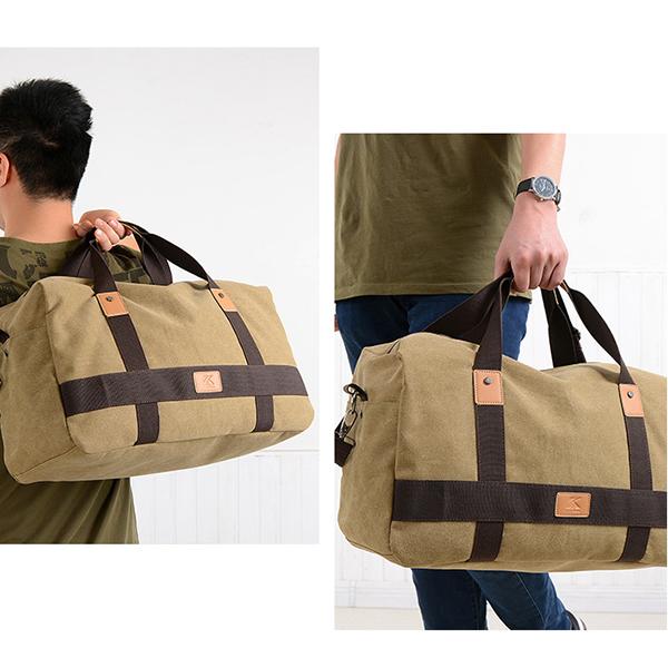Men Canvas Large Capacity Weekender Bag Handbag Leisure Travel Crossbody Bag Shoulder Bag