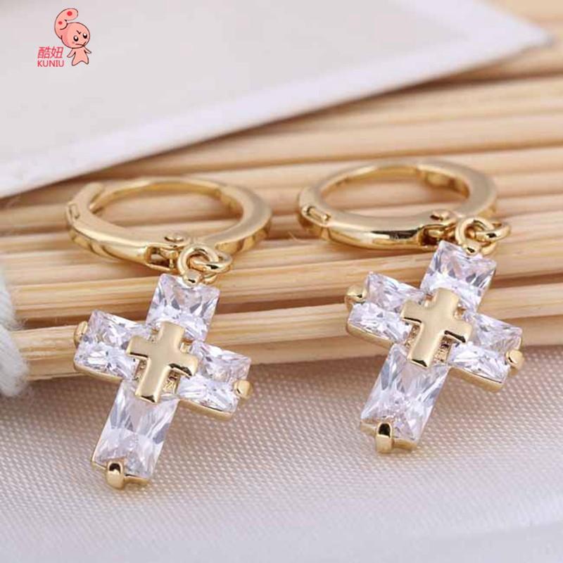 Kuniu Cross Shaped Clear Crystal Zircon Dangle Pendant Earrings