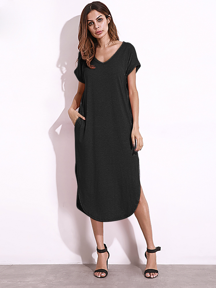 Casual Women Summer V-Neck Short Sleeve Sexy Split Long Dress