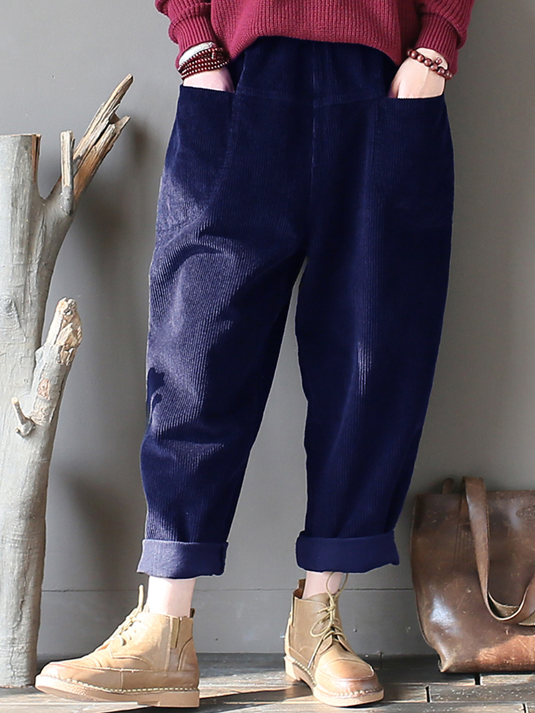 M-5XL Women Casual Pure Color Elastic Waist Corduroy Pants