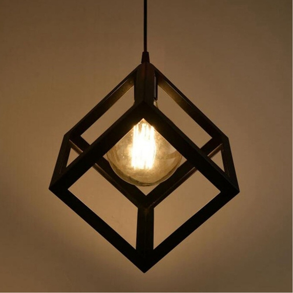 Simple Style Pendant Light Square Shaped Kitchen Meals Chandeliers Wrought Iron Lampshade Fixture