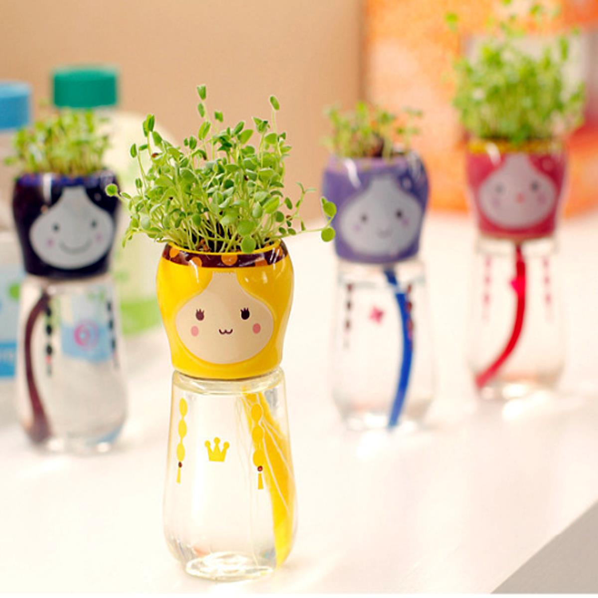 Garden Home Office Decor Cute Emoji Doll Self Straw Watering Planter Flower Pot