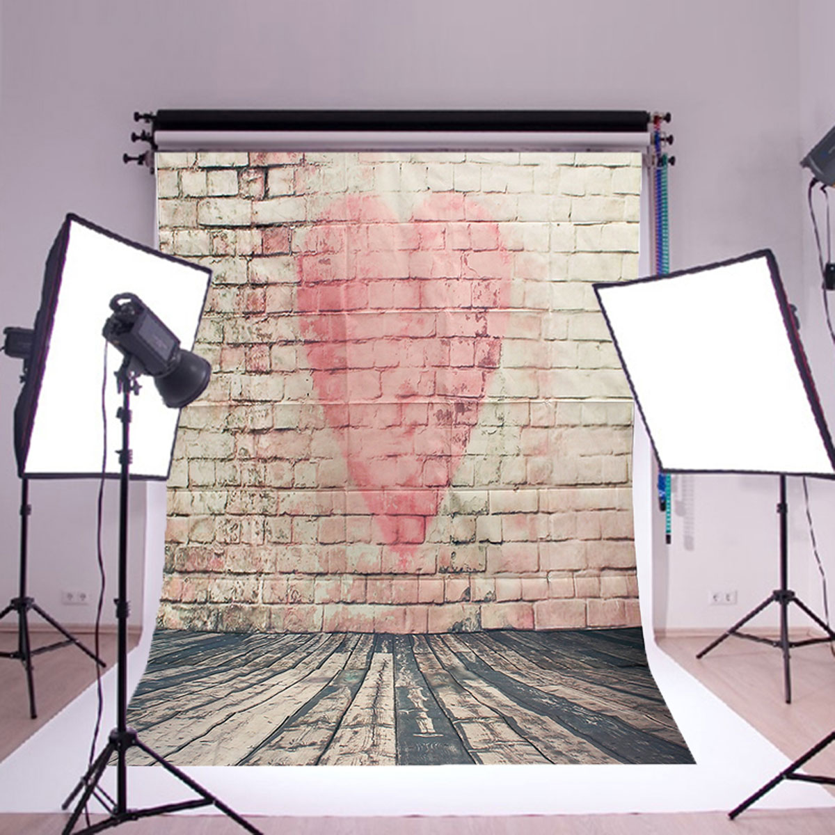 5x7FT Vinyl Love Heart Brick Wall Photography Background Backdrops Photo Studio