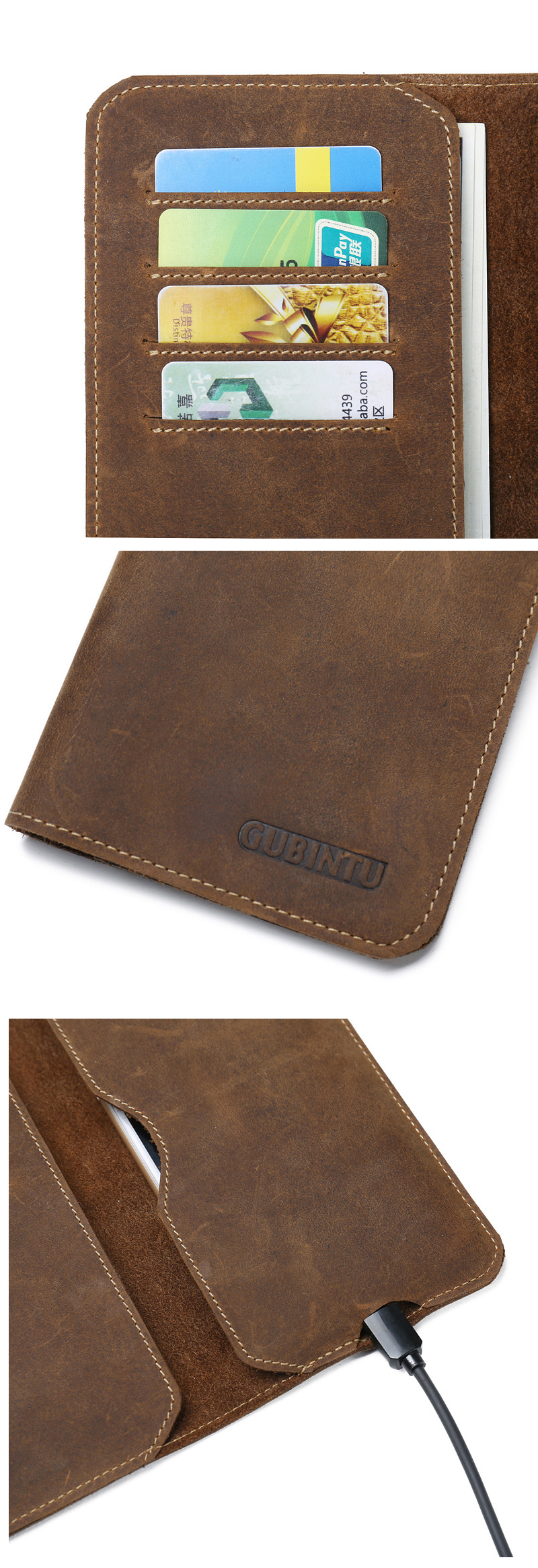 Men Genuine Leather Soft Leather 5.0-6.0 Inches Phone Bag