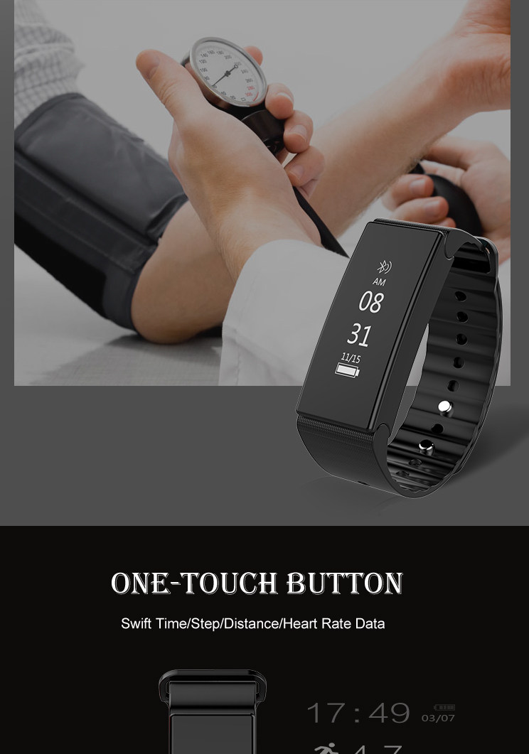 T2 Blood Pressure Heart Rate Monitor Bluetooth Smart Wristband Bracelet For iPhone X 8 Plus OnePlus5