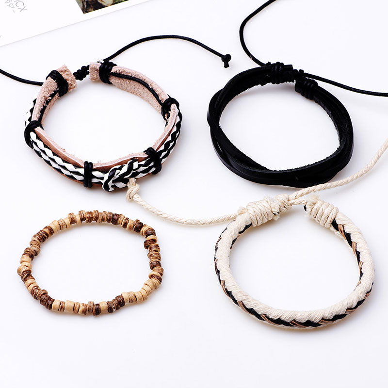 Trendy Multilayer Woven Shell Beaded Bracelets Leather Adjustable Men Jewelry