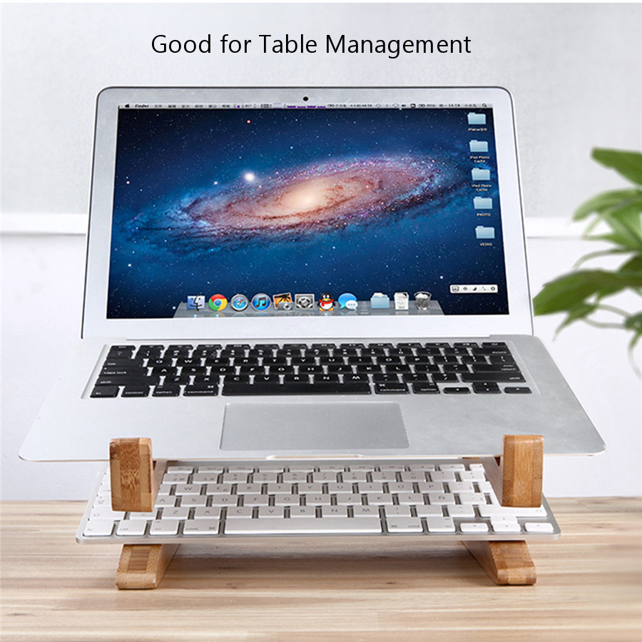 Multifunctional Wooden Detachable Desktop Stand Holder for Macbook Laptop Tablet Phone Keyboard