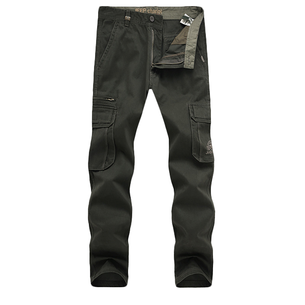 Men Cargo Khaki Army Green Pants Big Side Pockets Plus Size Zipper Cotton Trousers