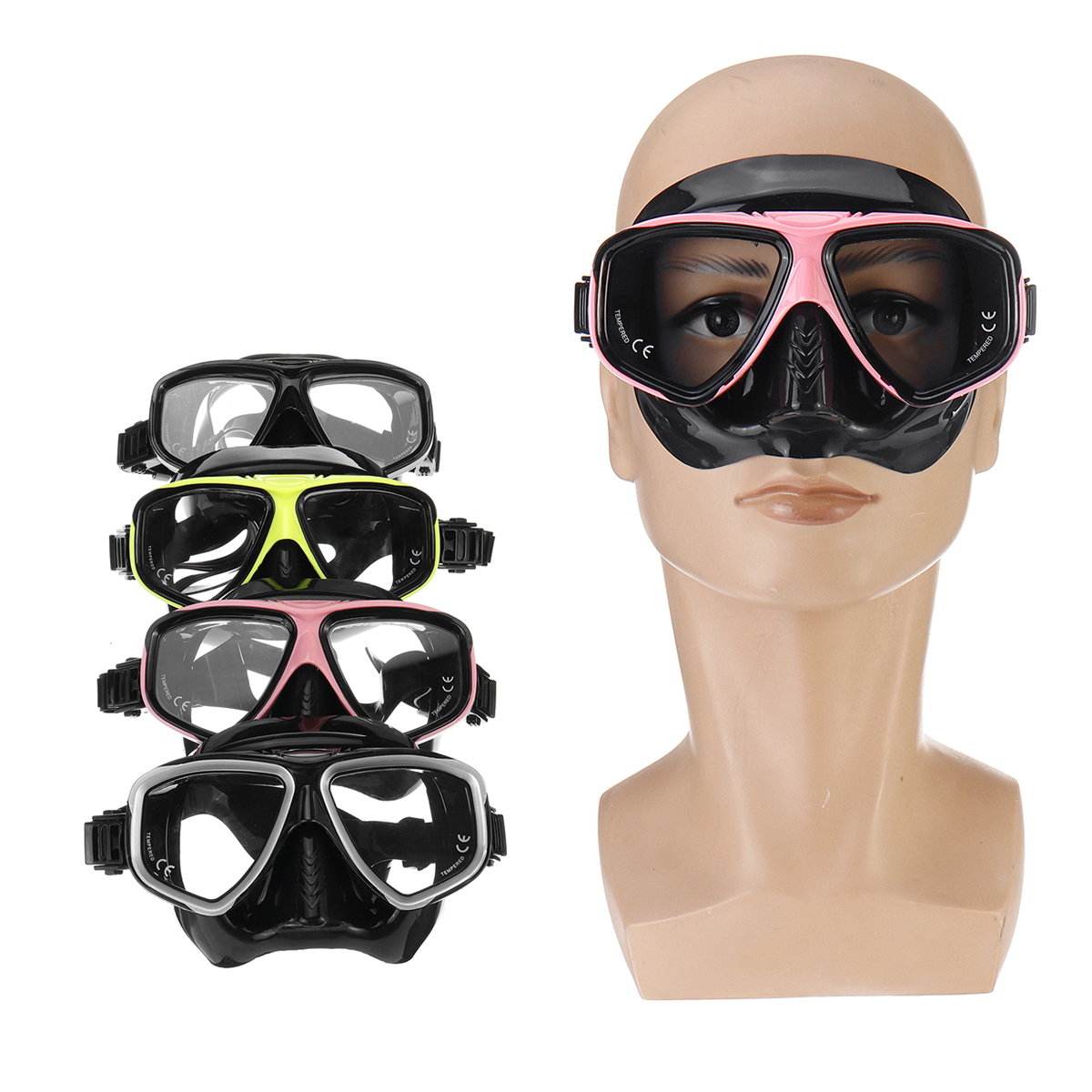 Men Women Diving Mask Anti-Fog Mask Underwater Swimming Breath Snorkeling Glasses