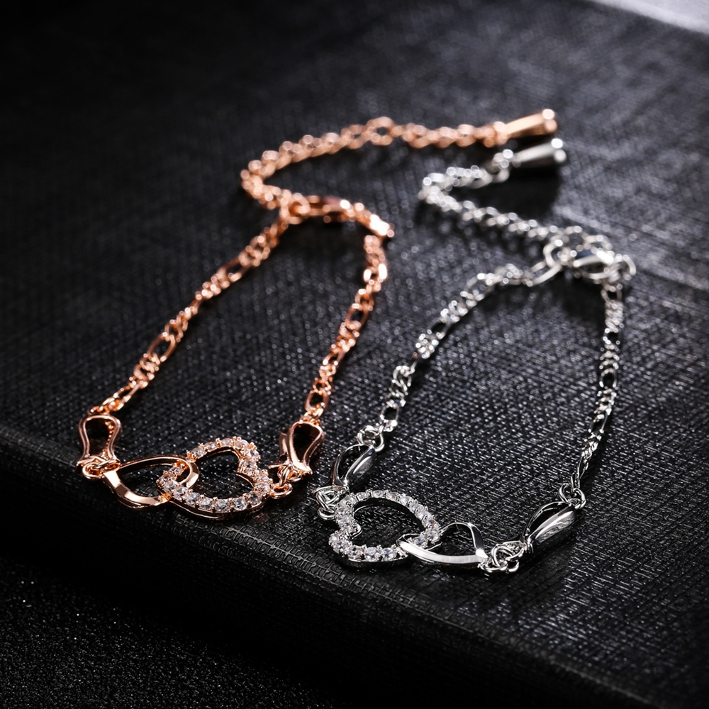 Anklet Double Zircon Hearts Copper Chain Plated Anklets