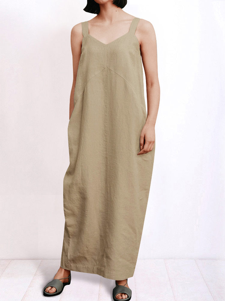 Women Sleeveless Strap Vintage Loose Baggy Long Maxi Dress