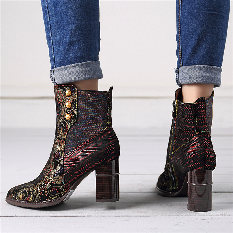 SOCOFY Stitching Embossed Leather Boots