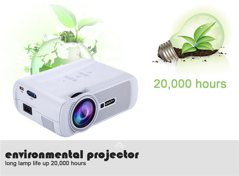 UHAPPY U80 800x480 1080P 1000 Lumens HD LCD Mini LED Portable Projector Home Theater Office