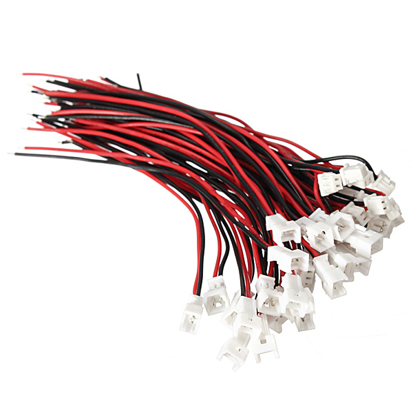 Excellway® 20Pcs of JST 2P Female Male Connectors with 80mm Standard Wires
