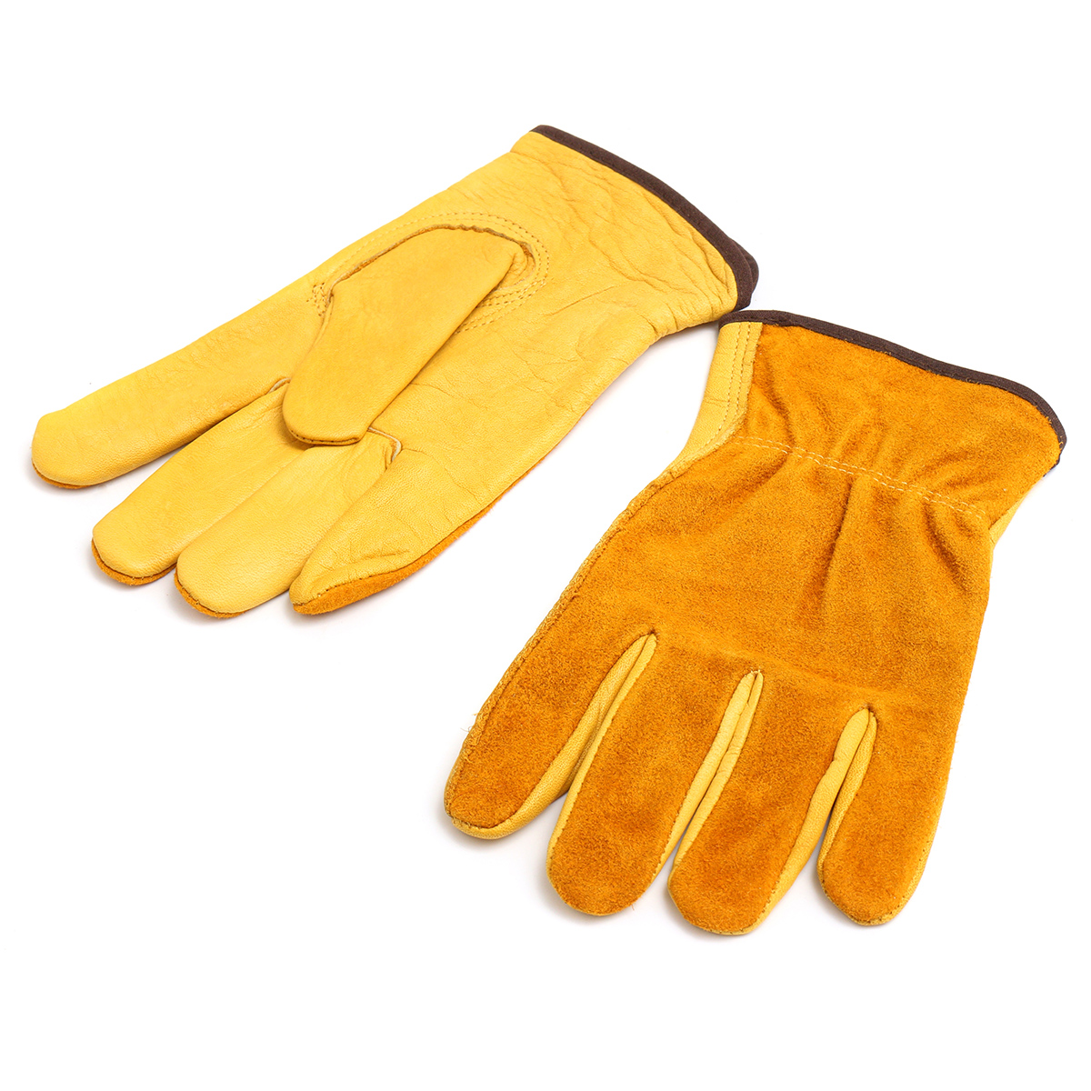 Premium Cowhide Leather Working Gloves Labor Garden Security Mechanical Repair Protective Gloves