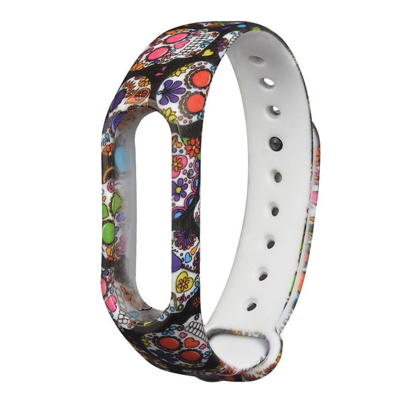 Replacemet Multi-colour Skull Head Fashion Halloween Props Watch Strap for XIAOMI MIband 2