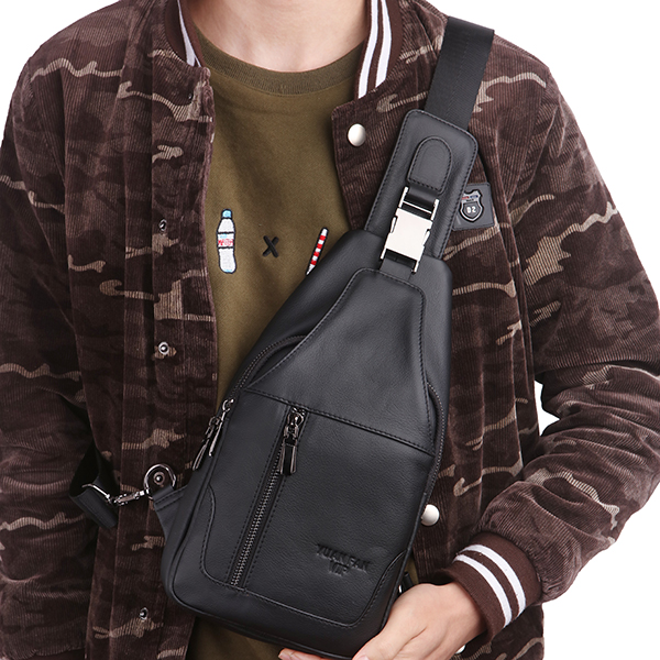 Men Soft Genuine Leather Chest Bag Shoulder Crossbody Bags Chest Pack for Ipad Mini