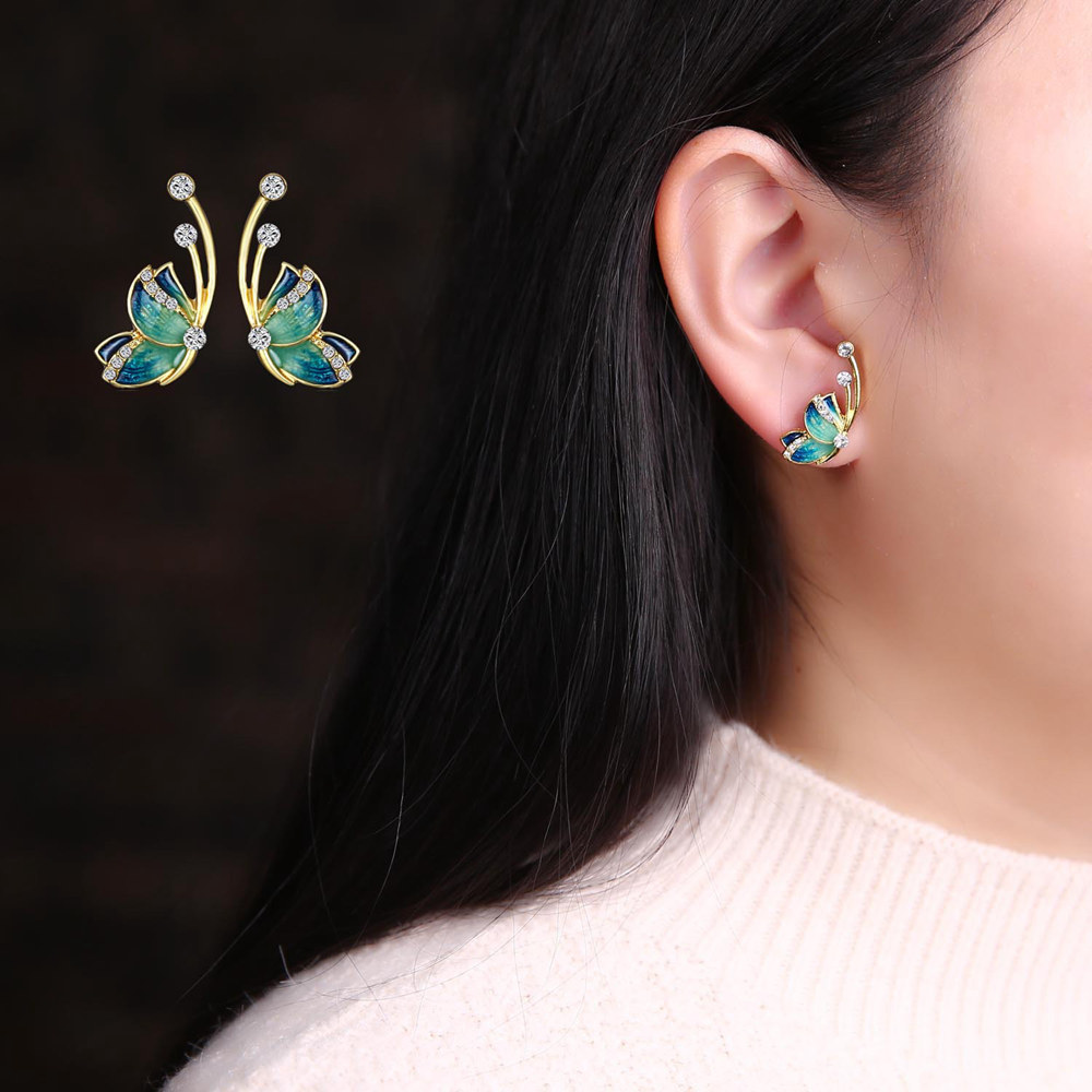 Luxury Butterfly Gold Earring Sweet Ceramic Rhinestones