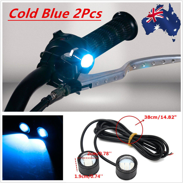 12V Motorcycle Handlebar LED Headlights Running Spotlight Blue/Green/White