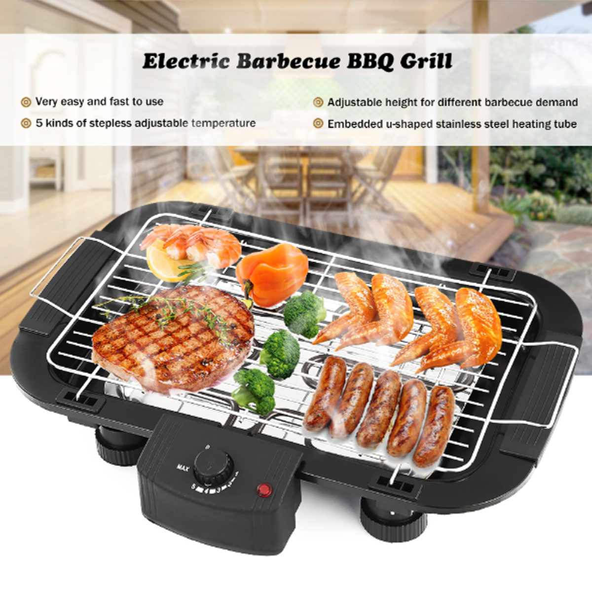 Smokeless BBQ Grill Non Stick Electric BBQ Teppanyaki Barbeque Grill Table Top Griddle