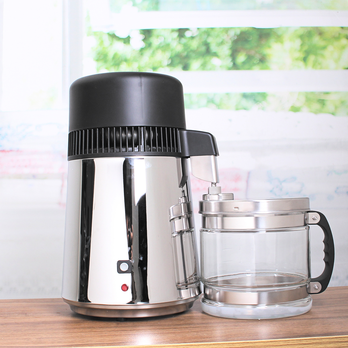 750W 4L Stainless Steel Pure Water Distiller Purifier Kitchen Filter Machine Free Glass Jar Bottle