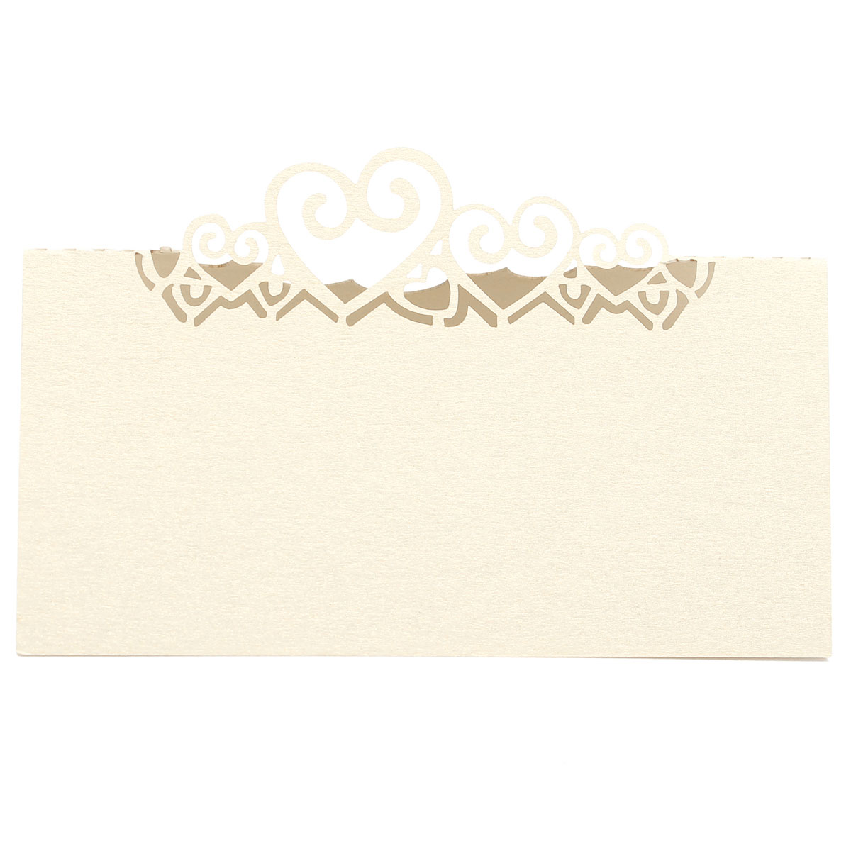 10Pcs Laser Cut Double Heart Table Name Place Cards White Ivory Wedding Party Accessories