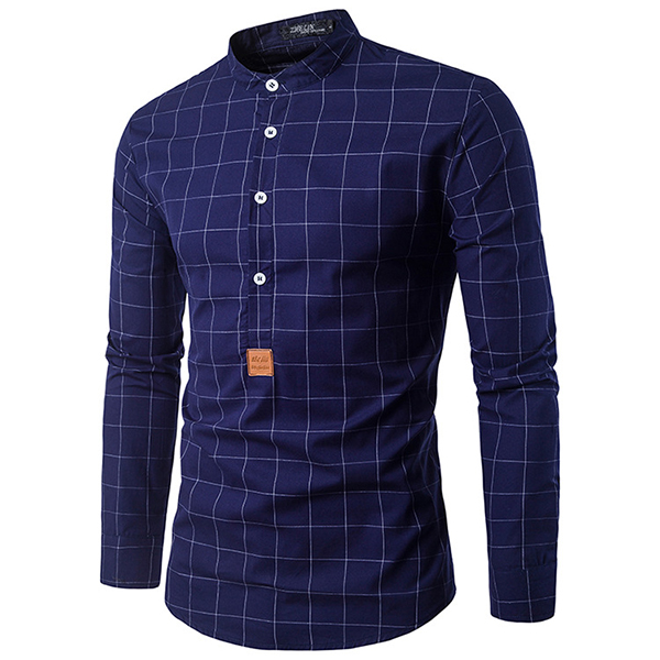 Mens Fashion Plaid Printing Half Placket Little Stand Collar Casual Long Sleeve Shirt