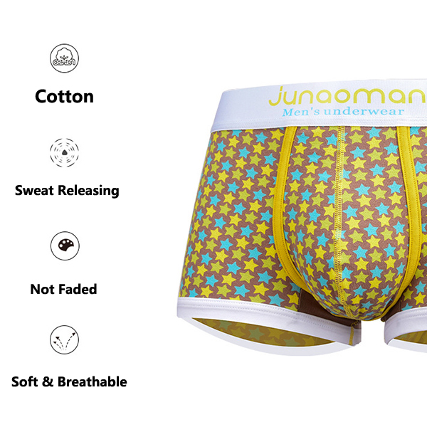 Men Comfortable Breathable Cotton Fashion Printing Boxers Low Rise Underwear