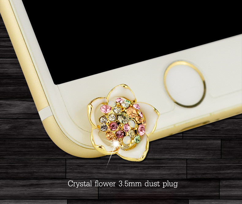 2PCS Diamond Crystal Flower 3.5mm Dust-proof Plug For iPhone 6s 6 Plus 5s SE Android Smartphone