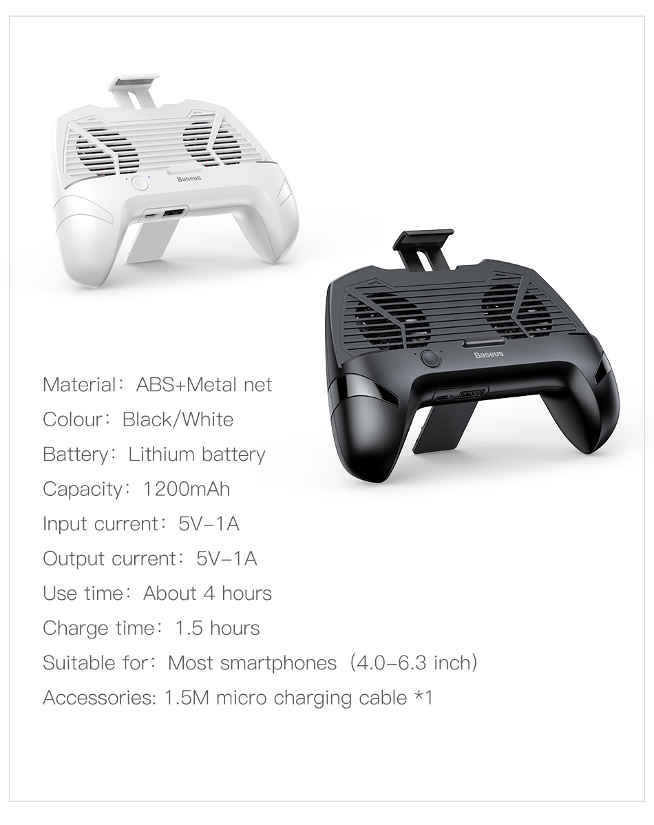 Baseus Gamepad Controller Phone Holder with Double Cool Fan For 4-6 inch Smartphones