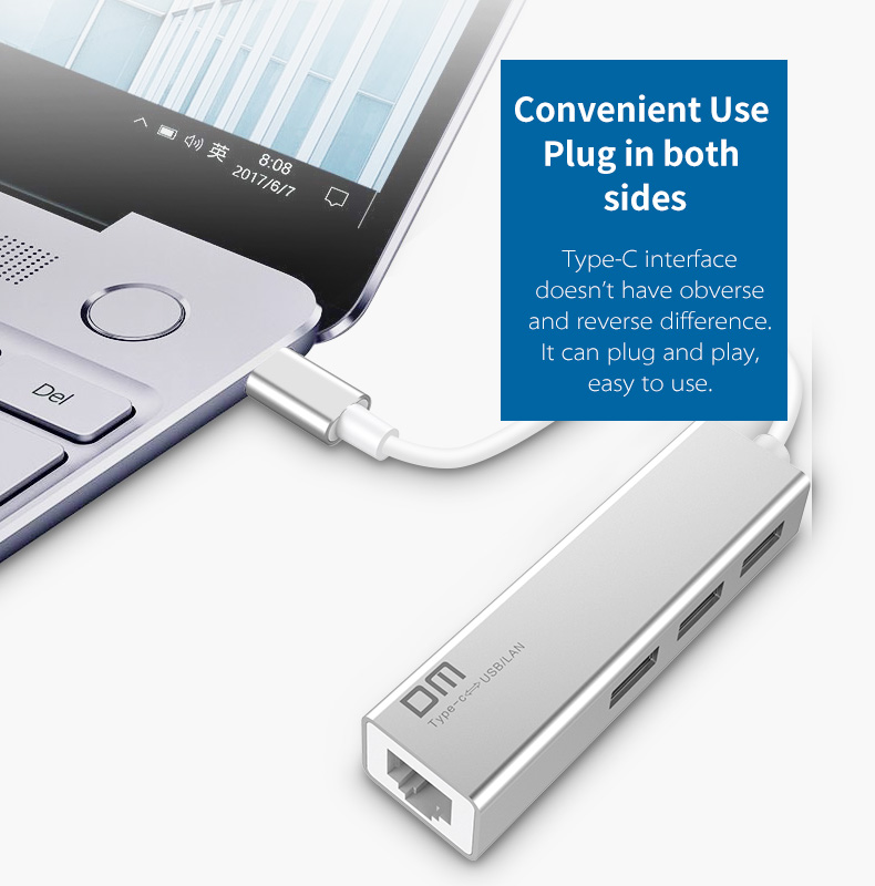 DM Type-C USB3.0 High-Speed Expansion 3-Ports HUB USB Splitter for Samsung S9 S8 for Xiaomi Mix2S