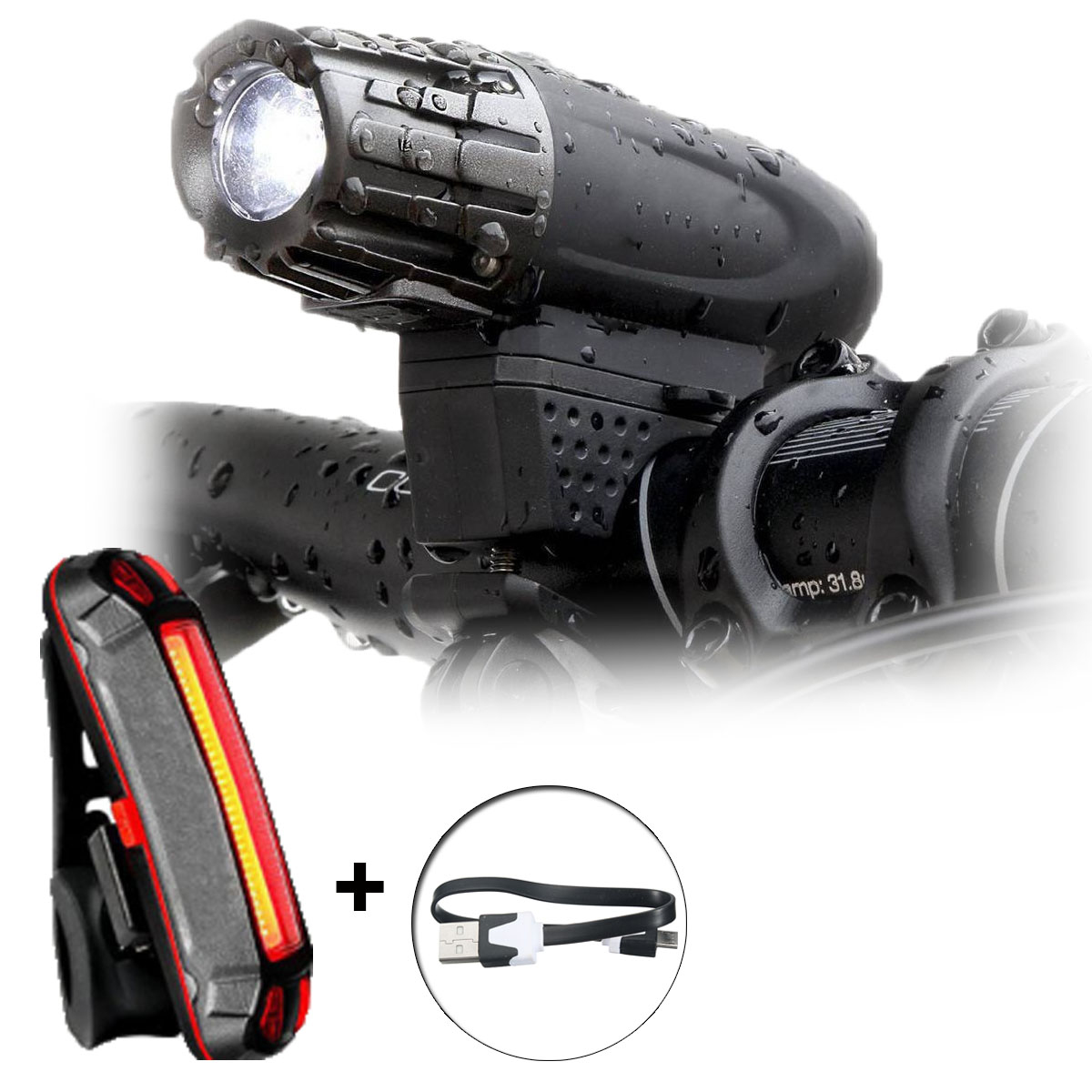 BIKIGHT Waterproof USB Rechargeable Bike Front Light Taillight Set