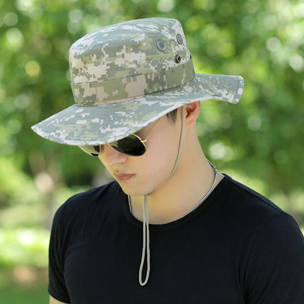 Mens Otudoor CollapsiblCamouflage Military Style Bucket Hat