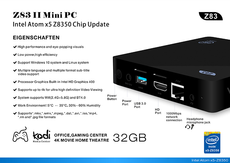 Z83II Mini PC 2GB DDR3 RAM 32G Intel Atom x5-Z8300 Processor Windows 10 bluetooth 4.0 USB 3.0 Wifi