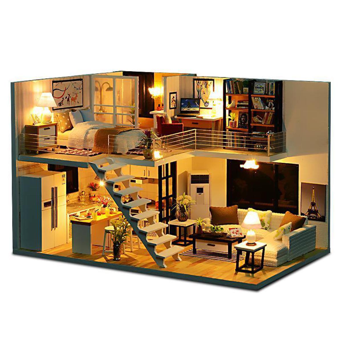 loft apartments miniature dollhouse wooden doll house furniture led rh banggood com