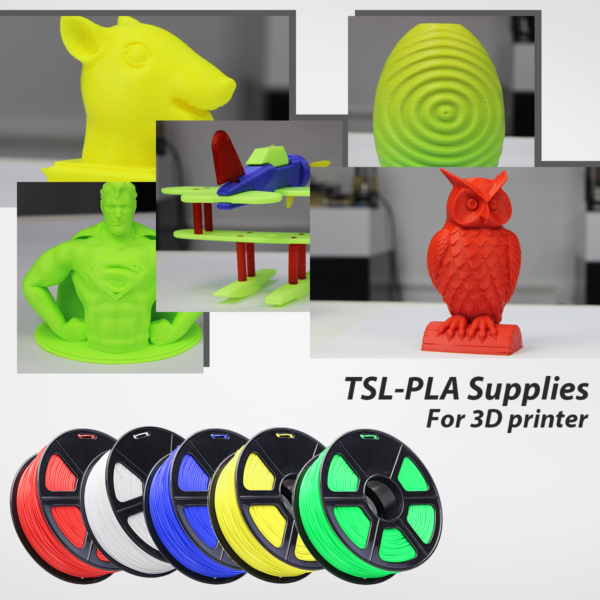 1.75mm 1KG/Roll TLS-PLA 3D Printer Filament Red/Blue/White/Green/Yellow Color