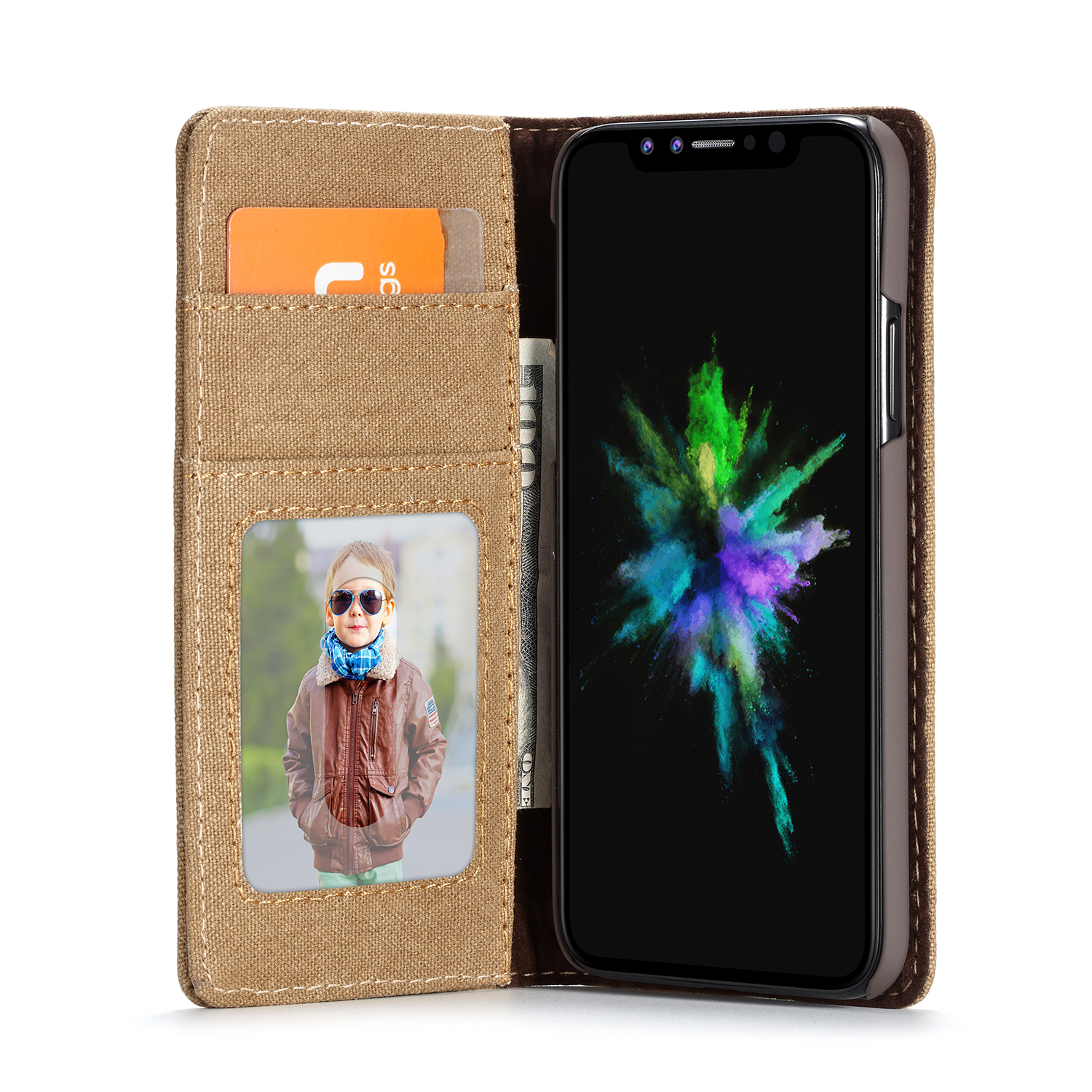 Canvas Magnetic Flip Bracket Wallet Cover Protective Case For iPhone XR