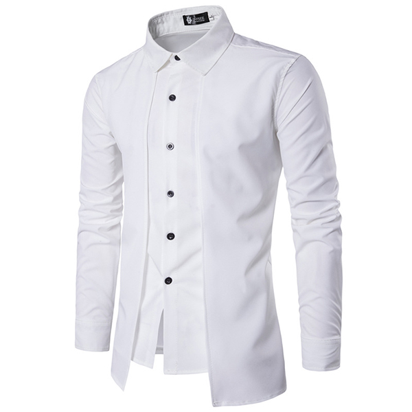 Mens Fashion Fake Two Pieces Double Plackets Shirt