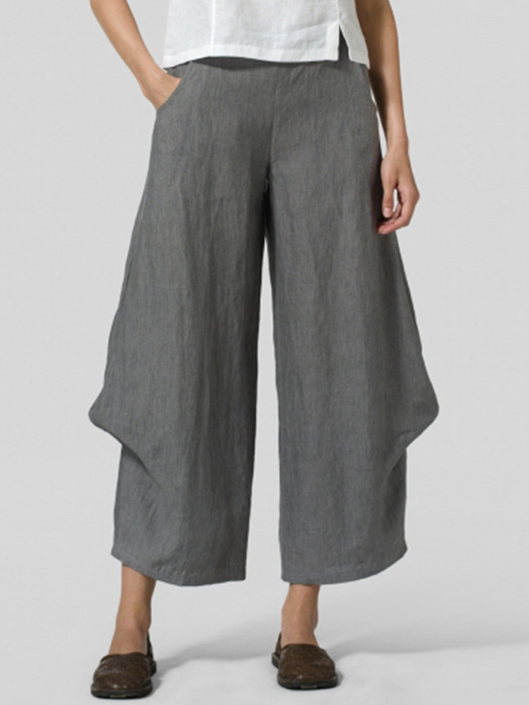 Women Casual Elastic Waist Loose Pants Wide Leg Trousers