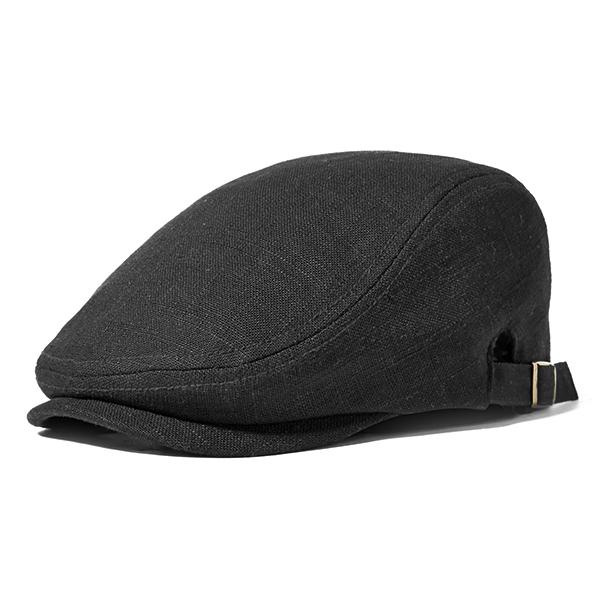 Men Linen Solid Beret Caps Adjustable Sunshade Visor Hat