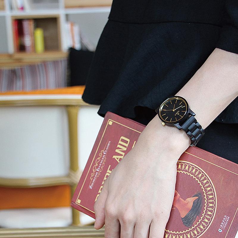 REDEAR SJ1624-G Ebony Wood Casual Style Unisex Watch
