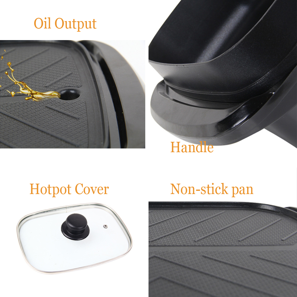 2-In-1 220V 1360W Electric Teppanyaki Barbecue BBQ Grill Pan Table Hotpot Oven Cooking Stove