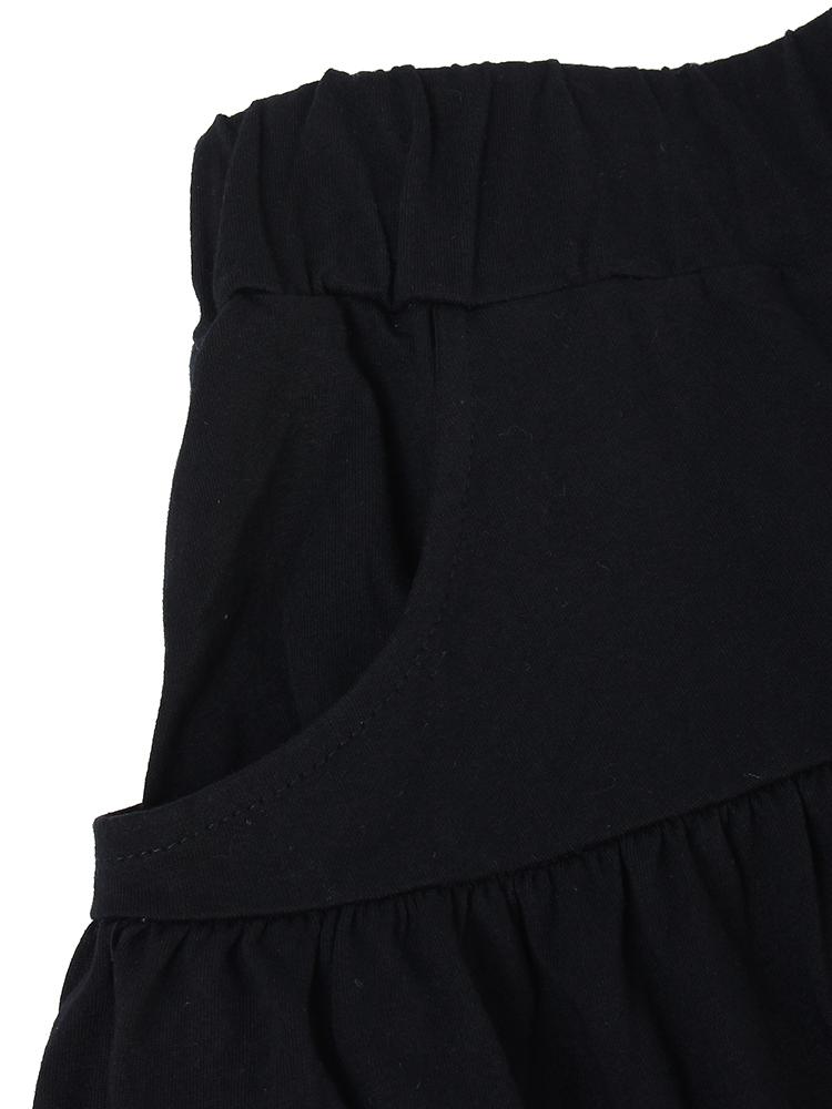 Loose Women Pure Color Ruffle Pocket Sport Beach Shorts