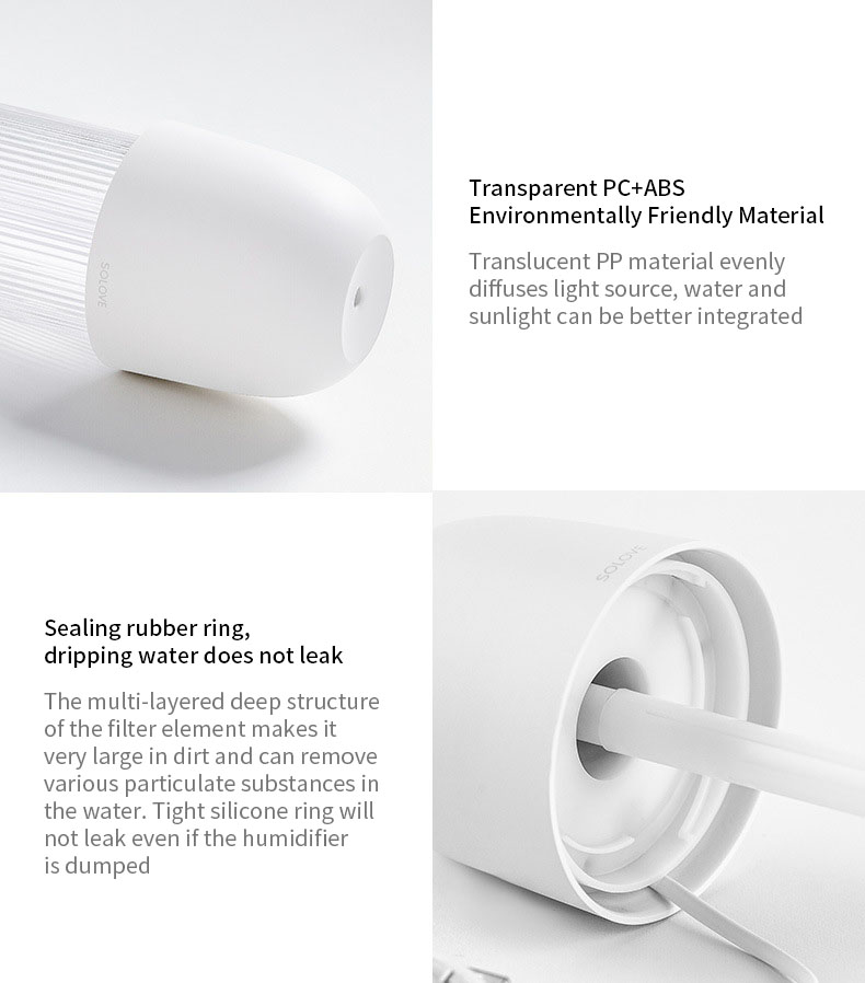 XIAOMI Solove 230ML Portable Air Humidifier LED Night Light USB Diffuser Mini Mute Desktop Purifier